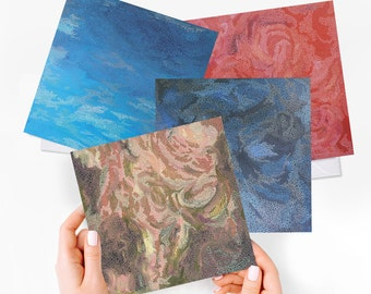 greeting cards pack set of 4 - blank cards any occassion, the elements art, thank you card set, notecard pack, abstract art cards stationery