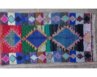 """200X110cm 6'5""""x3'6"""" T42415 boucherouite rug , boucharouette,  moroccan rugs , berber rugs, visit our 900 choices at moroccan-berber-rugs.com"""