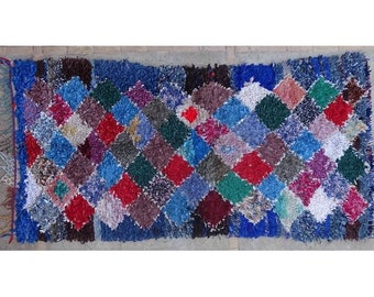 """190X95cm 6'2""""x3'1""""   T42396  Boucherouite rug ,Beni Ourain vintage berber rug Morocco,wool visit our 900 choices at moroccan-berber-rugs.com"""