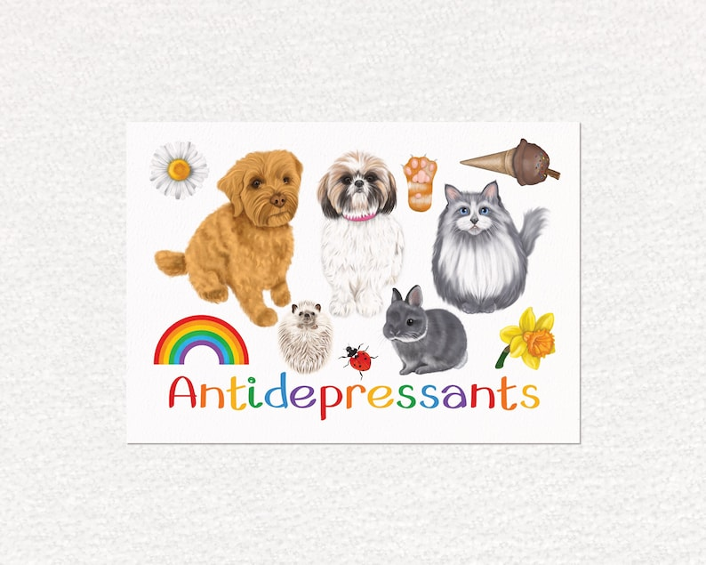 Antidepressants art print feel good art animal lover a4 image 0