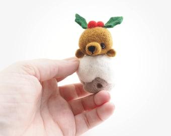 Christmas bear, pudding bear, christmas pudding, cute bear, artist bear, needle felted, felt animal, Christmas bear, cute animal, Christmas.