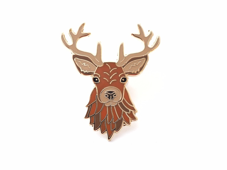 Scottish stag enamel pin. Scotland lovers gift ideas. image 0