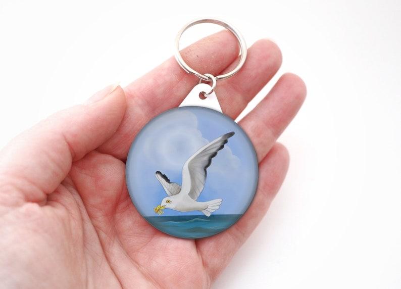 Seagull chips button badge keyring seaside british bird image 0