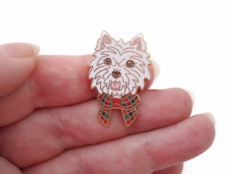 White West Highland Terrier dog pin. Scottish enamel pin gift. image 0