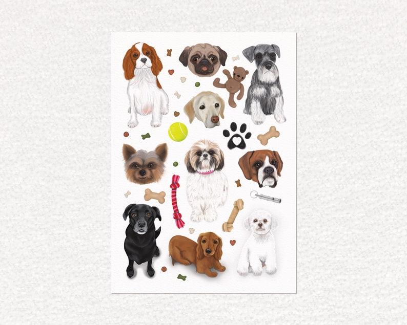 Dogs art print cute art dog lover gift a4 print animal image 0