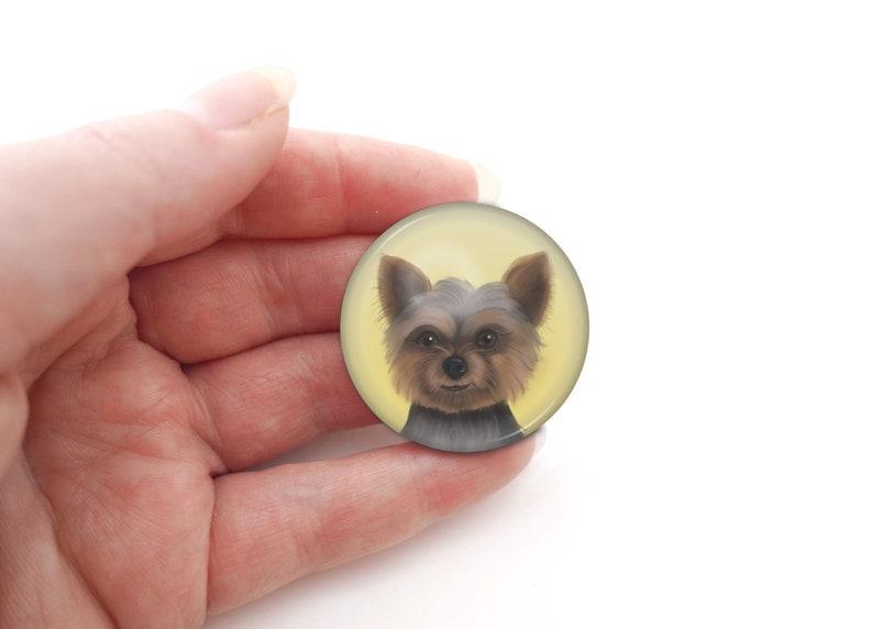 Yorkshire Terrier dog lover Yorkie badge keyring button image 0