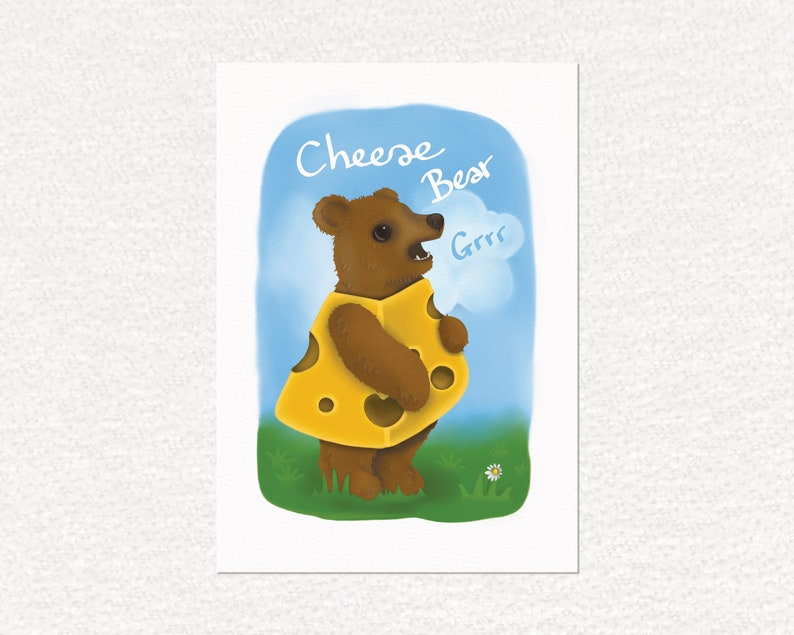 Bear art print cheese bear grrr a4 print animal lover image 0