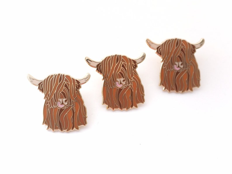 Seconds pin highland cow enamel pin hairy cow scottish image 0