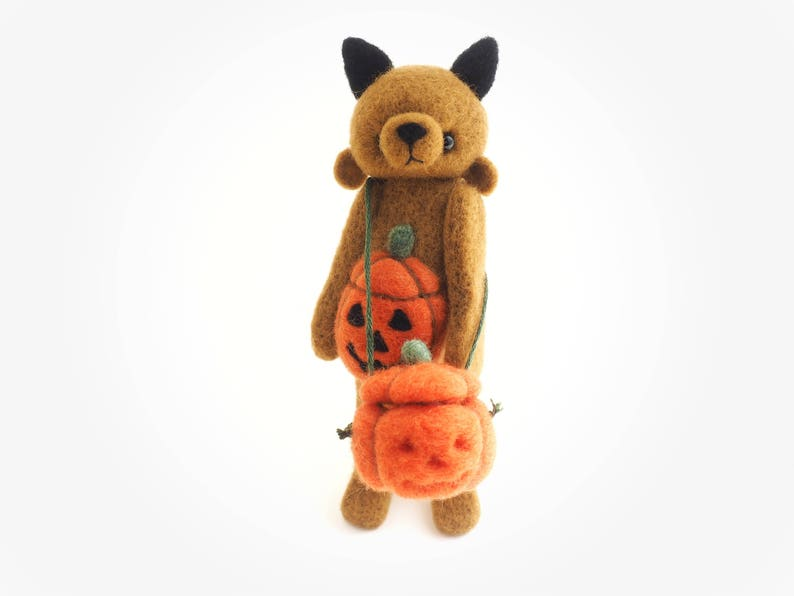 Pumpkin Bear rat cat artist bear needle felted felt image 0