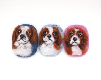 Custom pet portrait, dog portrait, needle felted animal, magnet or brooch, your pet, customised, cat, dog, puppy, kitty, small gift, bespoke