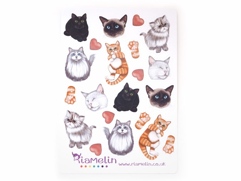 Cat stickers kittens kitty cat lover planner addict bujo image 0