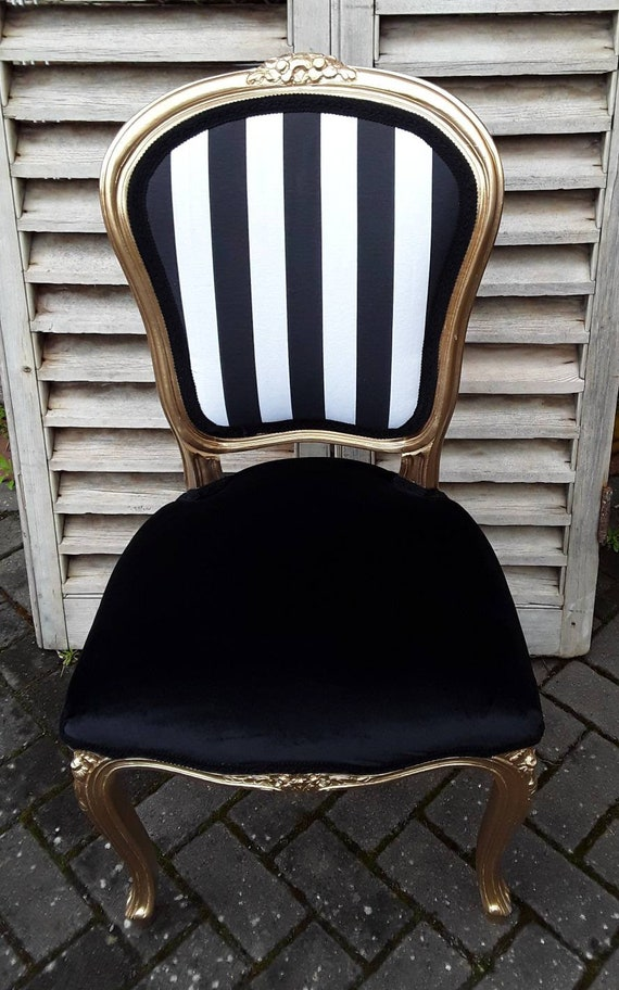 Wondrous Black And White Striped Velvet Gold Louis Chair Camellatalisay Diy Chair Ideas Camellatalisaycom