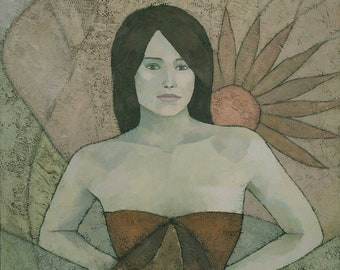 Contemporary Art Nouveau Female Figure Painting, Signed Giclee Print