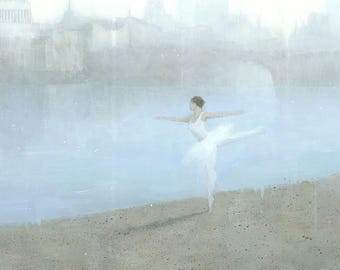 Ballerina Painting, Delicate Muted Panoramic London Cityscape Signed Art Print