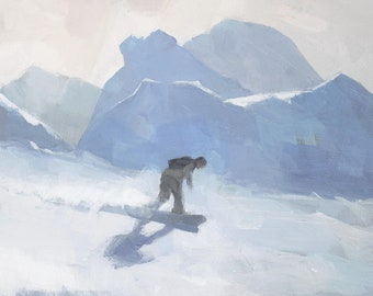 Snowboard Painting, Signed Art Print, Snowboarder Snowboarding Giclee A3 A2
