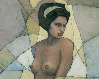 Female Nude Figure Painting Canvas Art Print, African Woman Contemporary Abstract Art Nouveau