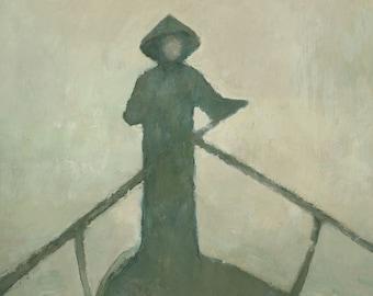 Spiritual Mystical Asian Boatman Painting, Signed Art Print