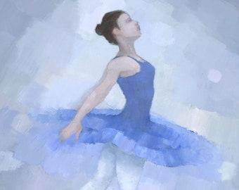 Blue Ballerina, Ballet Painting, Signed Art Print, Sapphire Star