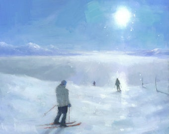 Ski Painting, French Alps Mountain Landscape Signed Giclee Art Print