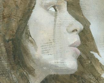 Modern Mixed Media Girls Portrait Painting, Signed Art Print
