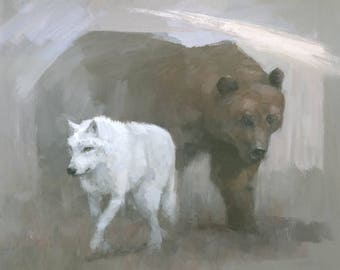 White Wolf, Brown Bear Painting, Signed Giclee Art Print