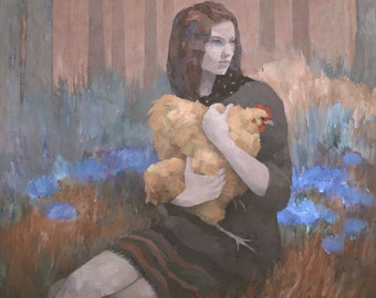Woman With Golden Hen Painting, Framed Giclee Fine Art Print