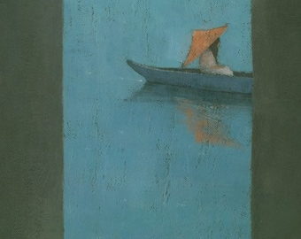 Japanese Woman in Boat Painting, Peaceful Serene Archway Vertical Signed Art Print