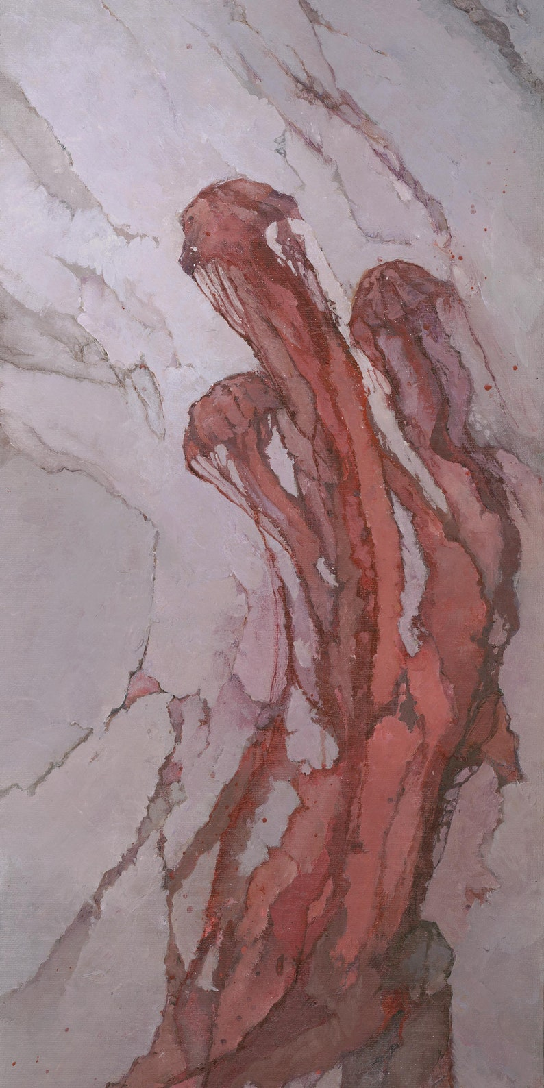 Red Jellyfish Painting Signed Giclee Art Print Fluid image 0