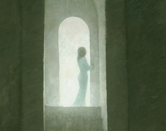 Spiritual Etheral Painting, Woman Shrouded in Light, Signed Fine Art Print