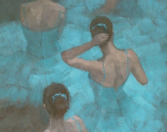 Ballerinas in Blue, Impressionist Ballet Painting, Signed Giclee Print