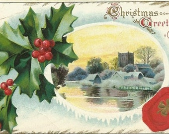 Christmas greeting etsy vintage postcard woodland country scene christmas greetings with holly berries shamrock accents 100 year old greeting card m4hsunfo