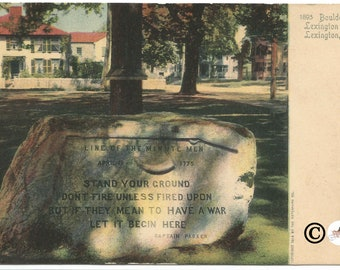 Boulder on Lexington Green Lexington Massachusetts Undivided Back Postcard Copyright 1904 The Rotograph Co. 114 Years old!