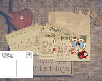 Valentine's Day Card Set of 12, Little Boy in Heart gives this Postcard a Romantic Vintage look making it a unique Stationary Set