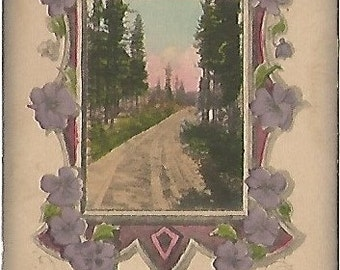 """Purple Pansy Pansies """"Sincere Thoughts"""" Country Lane Antique Postcard 1912"""