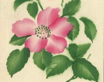 Vintage Postcard decorated with Pink Country Rose that is Stenciled and Airbrushed onto the Greeting Card Printed in Germany in 1913