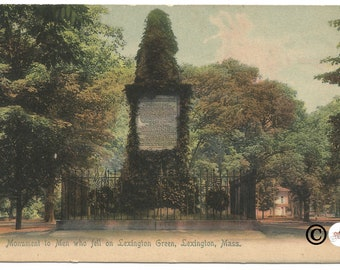 Monument to Men Who Fell on Lexington Green, Lexington Massachusetts Vintage Postcard Undivided Back Postcard Over 110 Years old!!