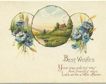 """Sky Blue Cornflowers & Honey Brown Wheat """"Best Wishes...""""  Greeting Card with Country Scene framed by circular Twigs  Cabin Vintage Postcard"""