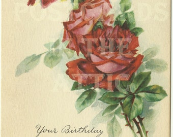 "Red Rose ""Your Birthday...""  Early 1900s Gibson - Beautiful Vintage Postcard"