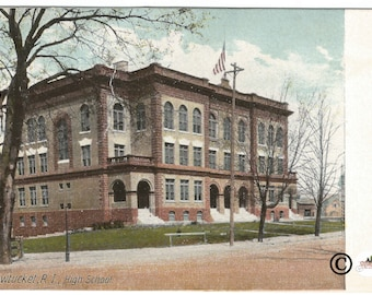 Pawtucket Road Island High School 1900-1906 Undivided Back Postcard Vintage Postcard by the Hugh C Leighton Co. Printed in Frankfort Germany