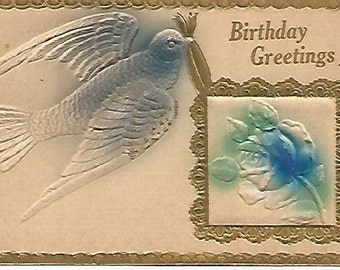Powder Blue Bluebird Birthday Greeting Antique Embossed Vintage Postcard Airbrushed
