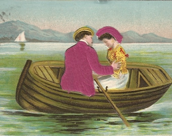 Young Lovers in Rowboat Sailboat in Background Clothes are Satin Fabric Vintage Novelty Postcard 1907 Vintage Postcard