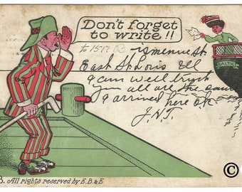 "1909 Undivided Back Postcard ""Don't Forget to Write"" Man Calling from Dock to Lady on Ship Vintage Postcard by E.B & E."