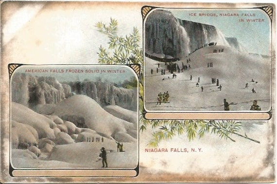 Vintage Postcard, American Falls Ice Bridge Niagara Falls Snowy Winter Scene, Undivided Back Postcard over 100 Years Old!