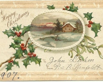 "Snow Covered Farmhouse with Country Bridge over Creek Sunset Vintage Postcard ""A Happy Christmas"" Winter 1907 Undivided Back Postcard"