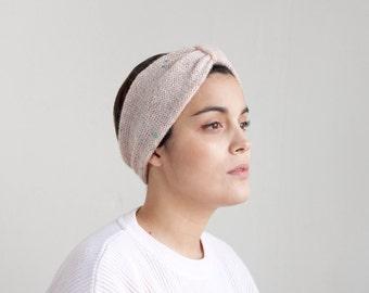 Pastel Pale Rose Pink color tweed hand knitting turban hair headband HBL006