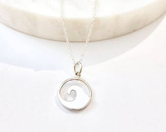 Wave Pendant Necklace - Surfer Necklace - Ocean Jewelry - Surfer Jewelry