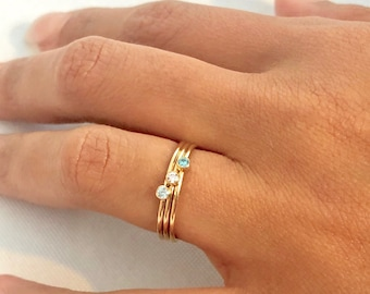 Birthstone Ring Gold, Birthstone Ring for Mom, Gift for Mom, Stacking Ring, Graduation Gift, Tiny Birthstone Ring