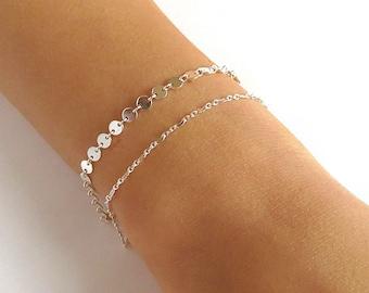 Dainty Silver Chain Bracelet - Gold Bracelets - Silver Bracelets - Layering Bracelets - Rose gold Bracelets