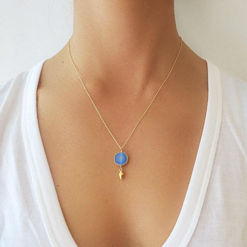 Druzy Necklace Aqua Druzy Pendant Necklace Druzy Jewelry