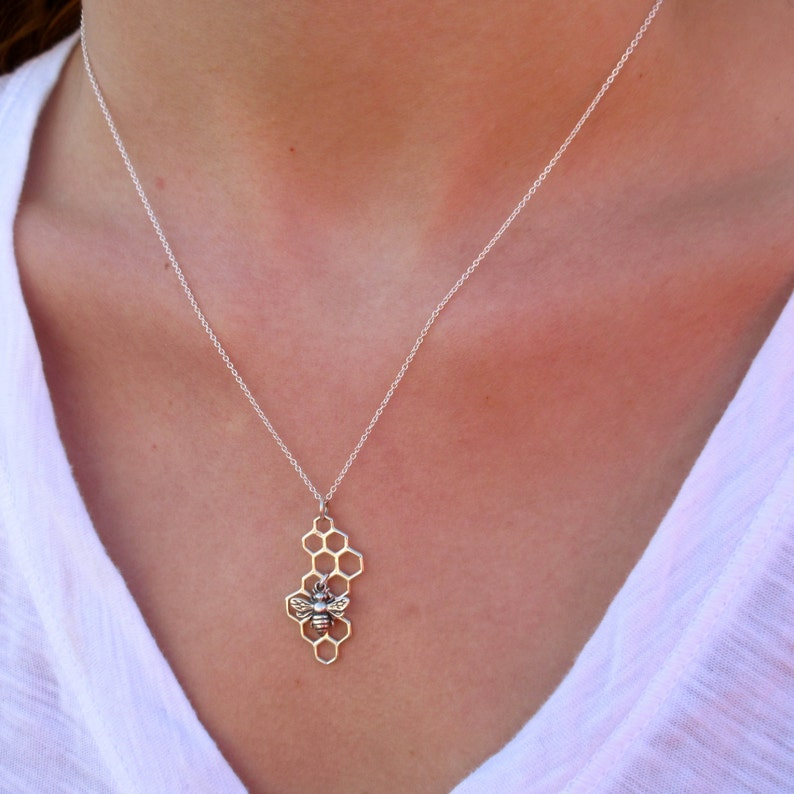 Honeycomb Necklace with Bee Charm  Honeycomb Necklace  image 0